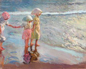 Las tres hermanas en la playa, lienzo de Joaquin Sorolla en la tienda de Artespana Imprenta Valencia