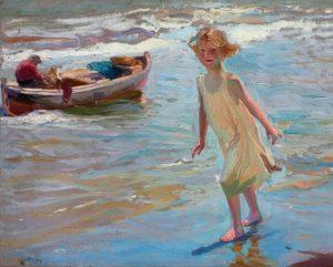 Niña en la playa, lienzo de Joaquin Sorolla, en la tienda de Artespana Imprenta Valencia