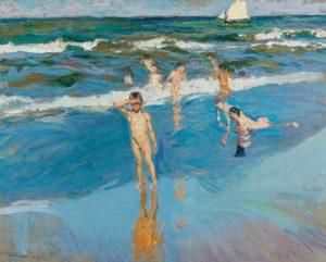 Niños en el mar, Playa de Valencia, lienzo de Joaquin Sorolla en la tienda de Artespana Imprenta Valencia