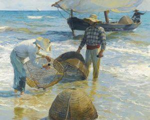 Los pescadores Valencianos, lienzo de Joaquin Sorolla. Valencian Fishermen, canvas print reproduction of Joaquin Sorolla