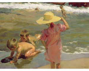 Niños a la orilla del mar lienzo deJoaquin Sorolla. Children on the seashore reproduction of Sorolla Painting