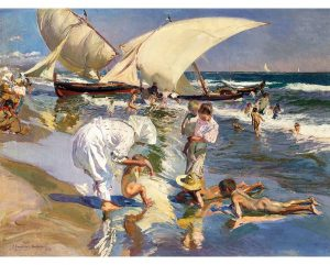 La Playa De Valencia Con Luz Matinal, lienzo de Sorolla -Beach of Valencia by morning light, canvas by Sorolla