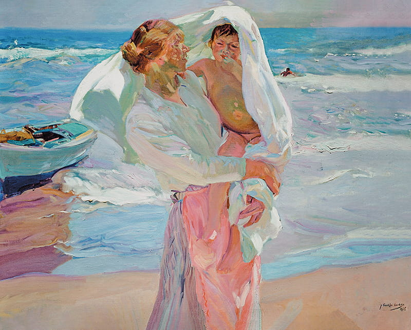 Saliendo Del Baño, lienzo de Sorolla. After Bathing, reproduction or Sorolla painting