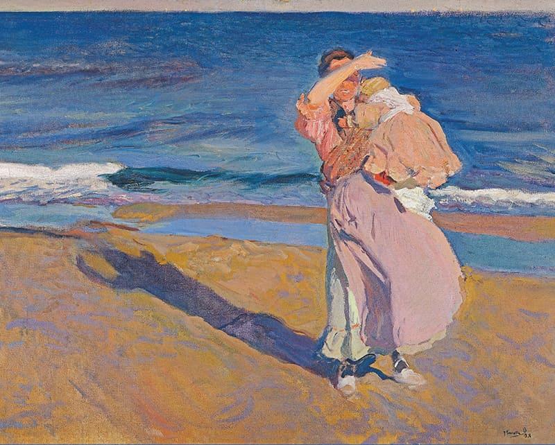 Pescadora Con Su Hijo, lienzo de Sorolla. Fisherwoman With Her Son, canvas print by Sorolla