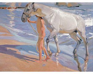 El Baño Del Caballo, lienzo de Sorolla. The Horse's Bath canvas reproduction print