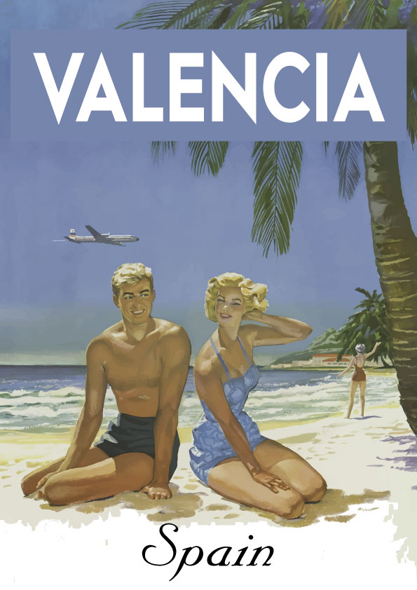 Valencia Playa lamina / poster