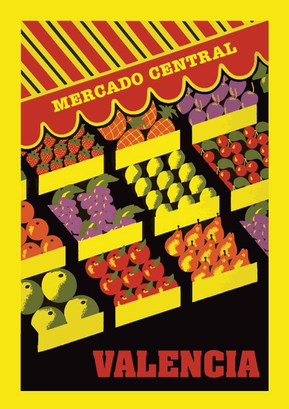 Mercado Valencia lamina / poster