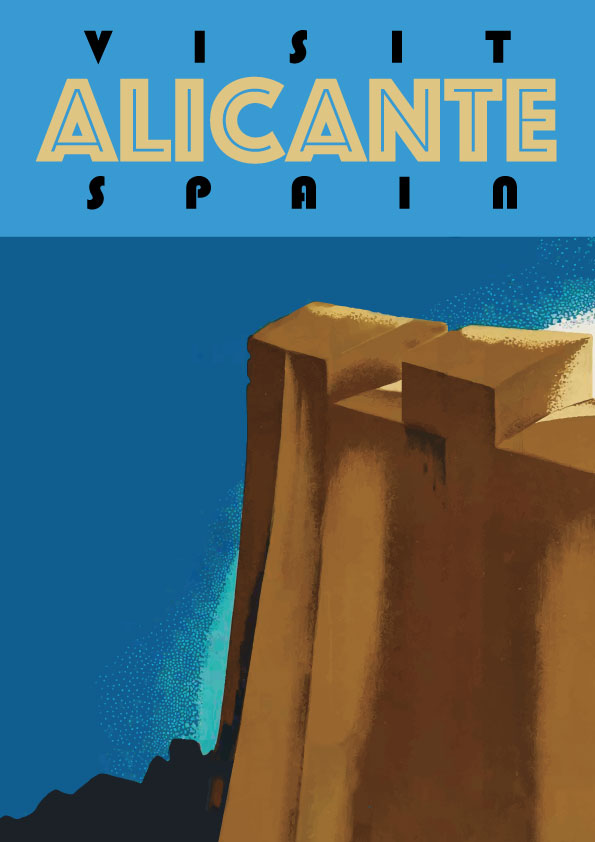 Alicante Valencia Castillo de Santa Barbara, cartel / poster / lamina decorativa de Artespana Imprenta valencia