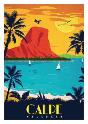 Calpe Alicante Playa, una de ciudades mas bonitas en la costa blanca. Cartel / poster / lamina decorativa