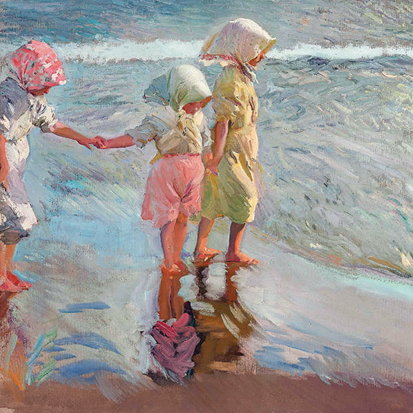 Lienzo de Tres hermanas en la playa de Joaquin Sorolla,