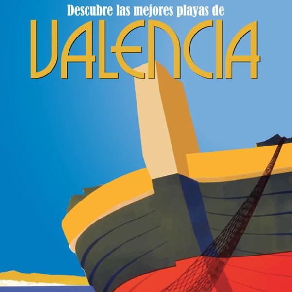 Valencia vintage beach print / Valencia cartel, lamina decorativa de la playa, impresion digital